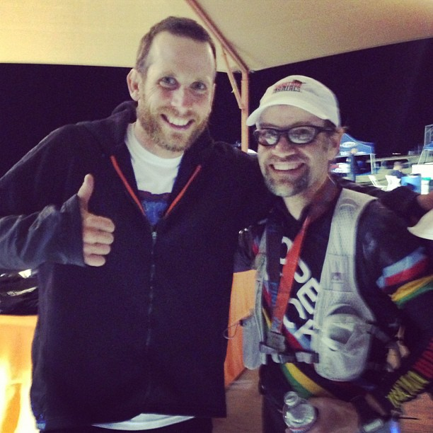 """Me with Guiness World Record holder James """"Iron Cowboy"""" Lawrence, who completed 30 Ironman races in a single year."""