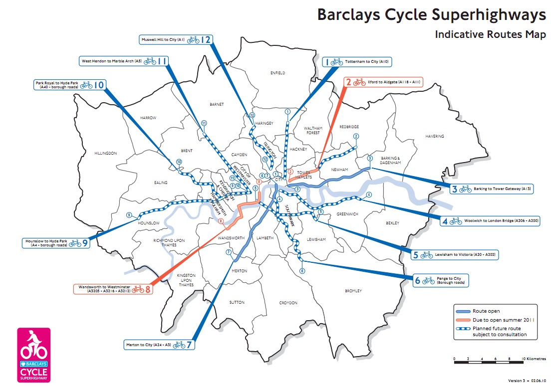 London cycling superhighways - currently a bit of a bad trip?