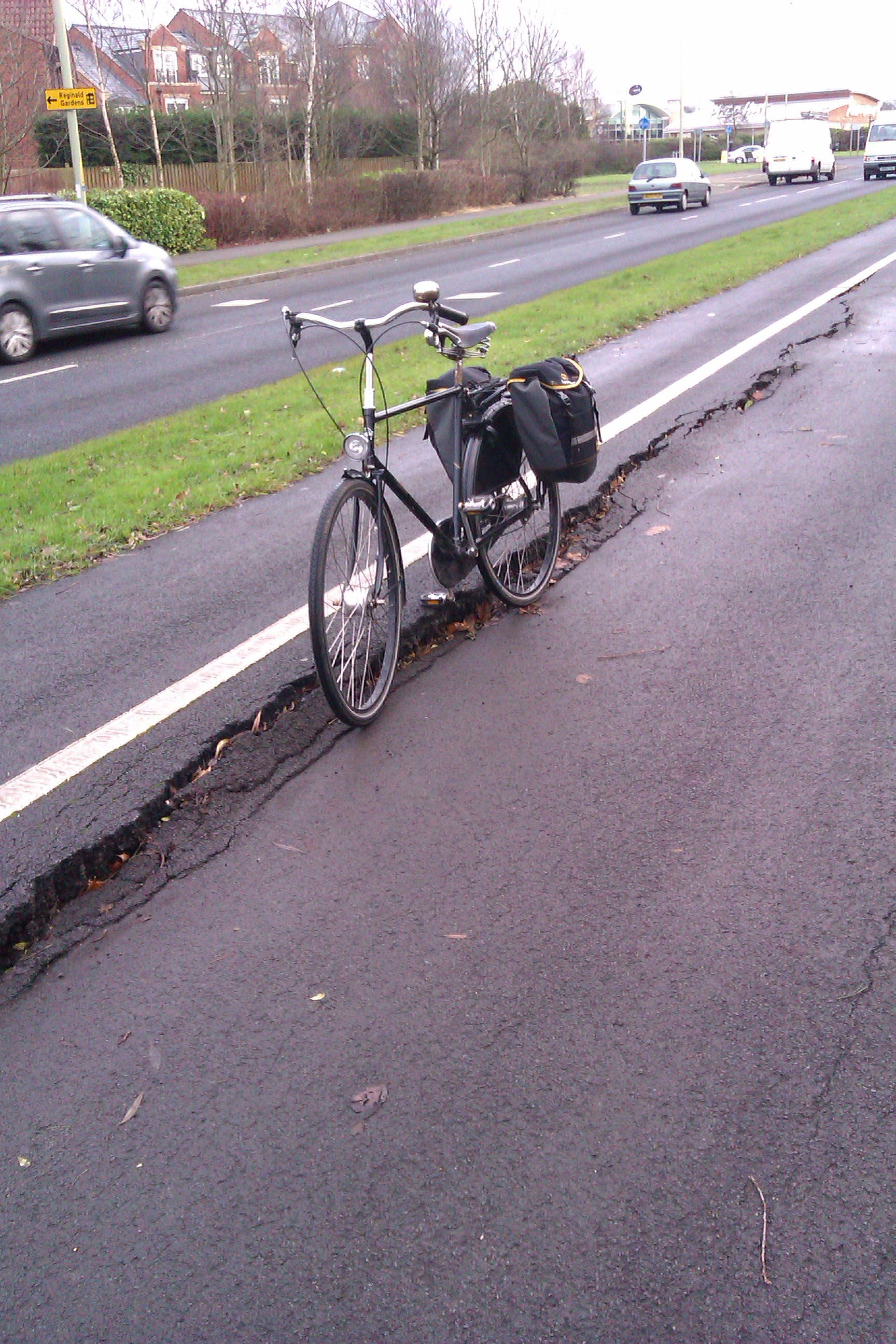 Damage To Cycle Path From The Great South Tyneside Earth Quake